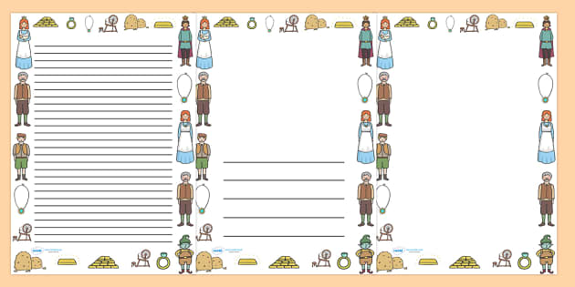 Rumpelstiltskin Page Borders - Rumpelstiltskin,Brothers Grimm,  miller, miller's daughter, page border, border, writing template, writing aid, writing,  spinning wheel, forest, straw, gold, child, spinning, queen, woods, ring, greedy, palace, king, s
