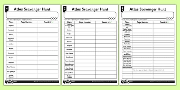 Differentiated Atlas Scavenger Hunt Activity Sheet - atlas, scavenger hunt, activity, geography, worksheet