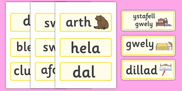 Bear Hunt Word Cards (Welsh) - bear hunt, word cards, cards,cymru