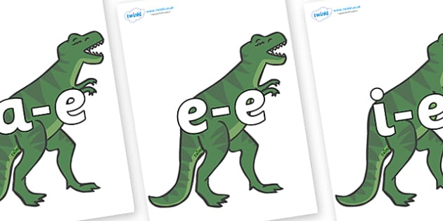 Modifying E Letters on T-Rex - Modifying E, letters, modify, Phase 5, Phase five, alternative spellings for phonemes, DfES letters and Sounds