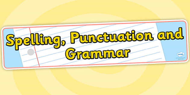 Spelling Punctuation and Grammar Display Banner - spelling, punctuation, grammar, display banner, banner, display banner, display header, themed banner