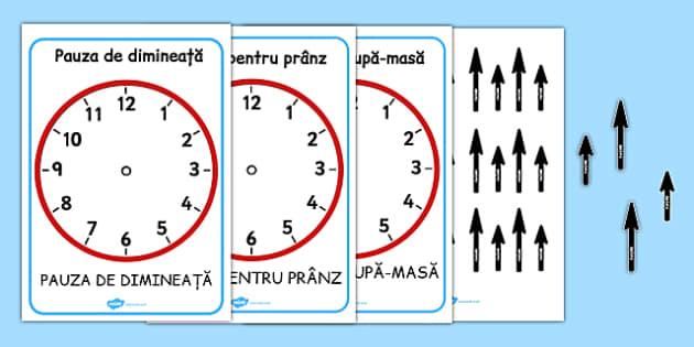 Ceasuri cu momentele zilei, Planse- ceasul, timp, romana