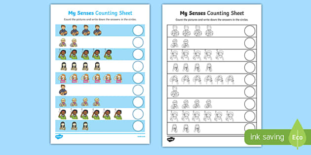 My Senses Counting Activity Sheet, worksheet