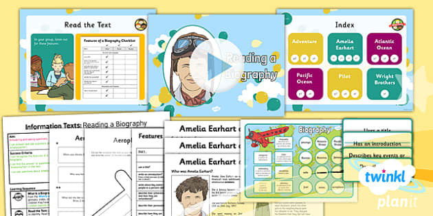 PlanIt Y2 Amelia Earhart Lesson Pack Information Texts (1) - explorers, adventure, Amelia Earhart, information texts, biography