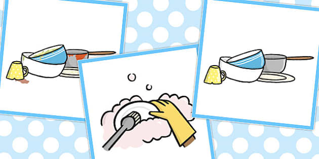 3 Step Sequencing Cards Washing Up - Sequencing, Washing, Up