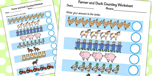 Farmer and Duck Counting Sheet - farmer duck, counting sheets
