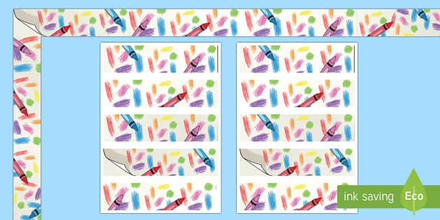Colorful Crayons Display Borders - classroom, display, class, color, colour, crayon, pencil, rainbow, wax, coloring, colouring