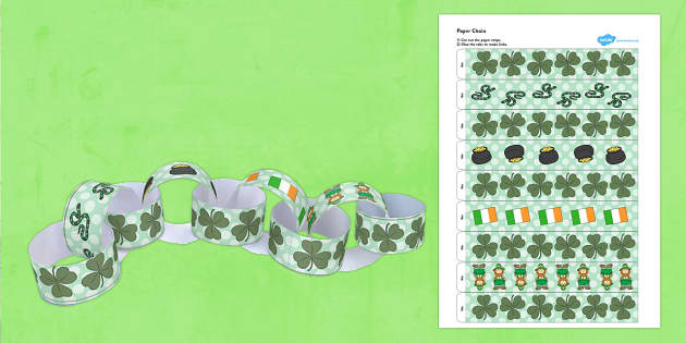 St Patricks Day Paper Chain - paper chain, st patrick, day, paper