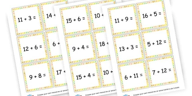 Addition to 20 with = sign - Addition Primary Resources, add, plus, more, adding, activities
