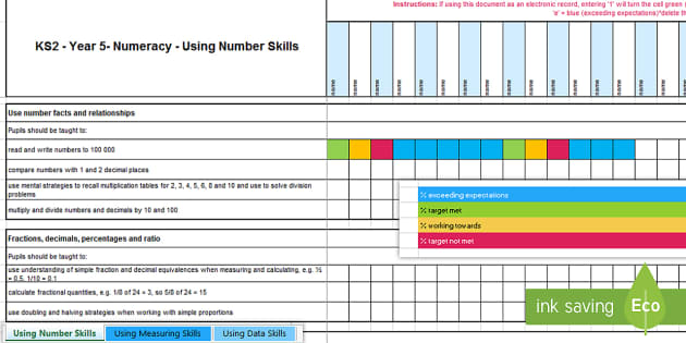 KS2 Year 5 Numeracy Assessment Tracker - Year 5, Maths, Numeracy, LNF, lnf, Assessment, Assessment Tracker, LNF Assessment.,Welsh