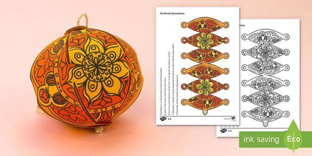 Simple 3D Diwali Decoration Activity Paper Craft