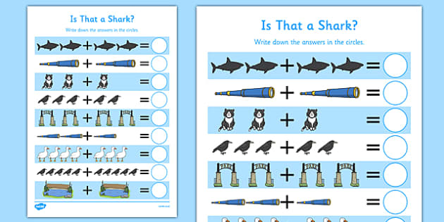 Is That a Shark? Up to 10 Addition Sheet - shark in the park, Nick Sharratt, storybook