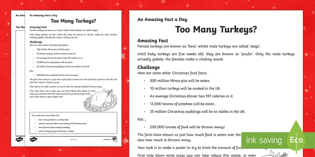 Amazing Fact a Day KS2 Countdown to Christmas Day 2 Too Many Turkeys Activity Sheet - Amazing Fact Of The Day, activity sheets, powerpoint, starter, morning activity, December, Christmas