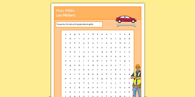 Mots Mêlés Les Métiers French - french, jobs, word search, activity, occupation, work