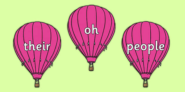 Phase 5 Tricky Words on Pink Hot Air Balloons - phase, 5, tricky, words, pink, hot, air, balloons, phonics, letters, sounds