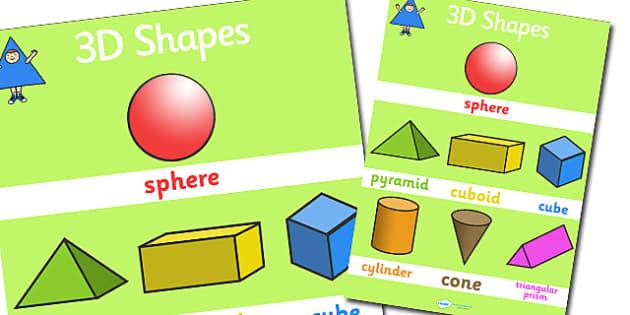Large 3D Shapes Poster - shapes, 3d shapes, 3d shapes poster, shapes poster, large shapes poster, shapes display poster, 3d shapes display poster