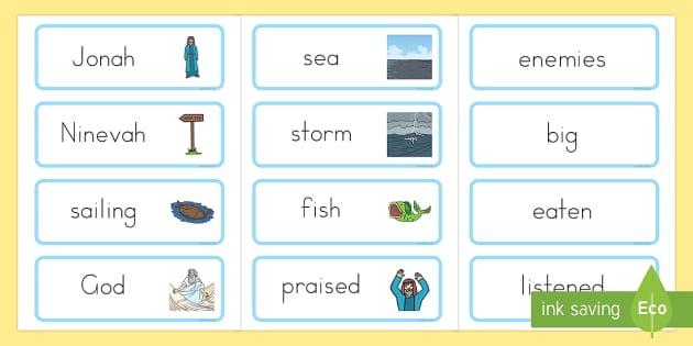 Jonah and the Big Fish Word Cards - bible stories, Jonah, Jonah display banner, bible story word cards, Judaism