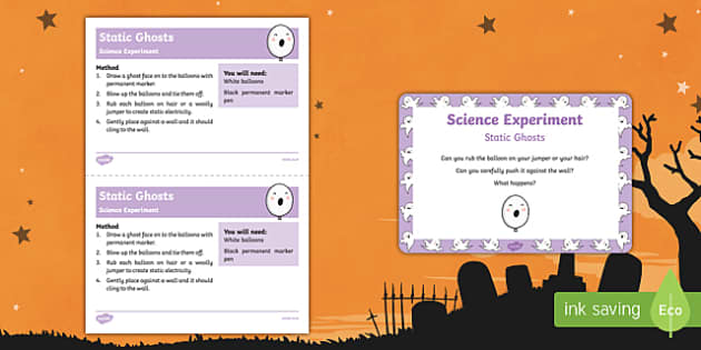 EYFS Static Ghosts Science Experiment and Prompt Card Pack