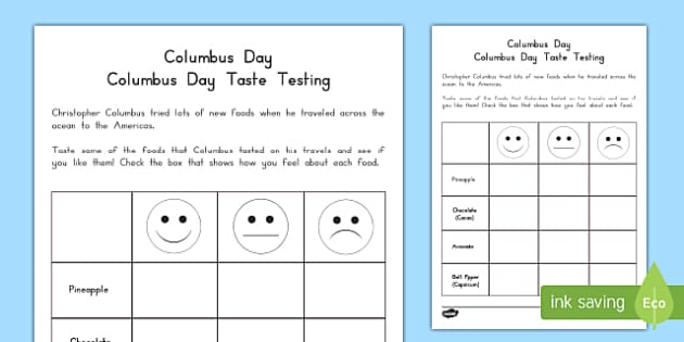 Columbus Day Taste Testing Activity