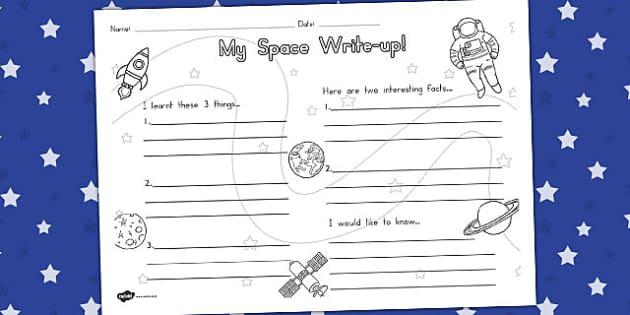 Space Write Up Worksheet - australia, space, write, worksheet