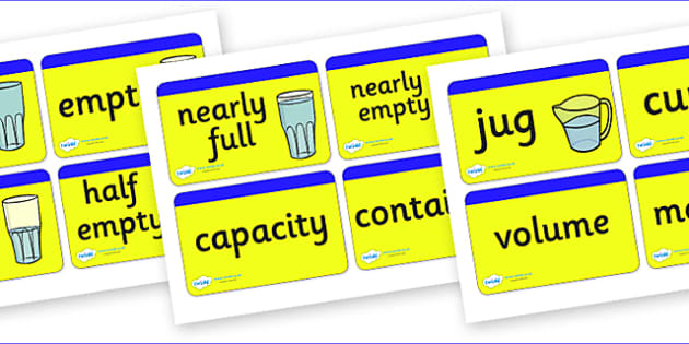 Capacity Word Cards for Visually Impaired - capacity, word, cards, word cards, capacity cards, visually impaired, visually, impaired, amounts