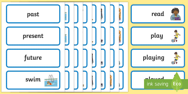 Verb Tenses Word Cards - verb tenses, word cards, word, cards, words, literacy, english, visual aid