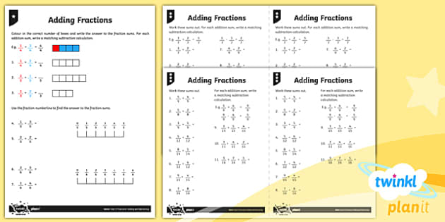 PlanIt Y3 Fractions Add and Subtract Fractions Home Learning - Fractions, homework, add fractions, adding fractions, subtract fractions, subtracting fractions, take away fractions, taking away fractions, inverse