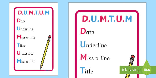 DUMTUM Prompt - Requests KS2 English, DUMTUM, date, underline, writing, display, prompt