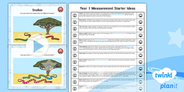 PlanIt Y1 Measurement Starter Ideas Pack - Measurement, length, height, size, weight, capacity, time, chronological order, coins, note, dates,