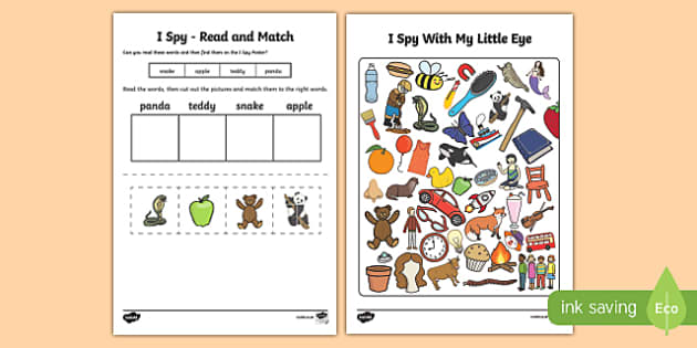 I Spy Read and Match Phase 2 Initial Sounds Set 1 - phonics
