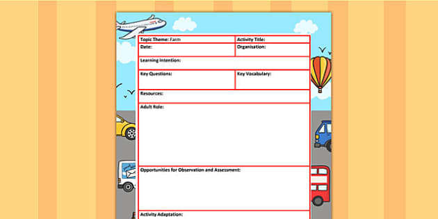 Transport Themed Adult Led Focus Planning Template - plan, plans