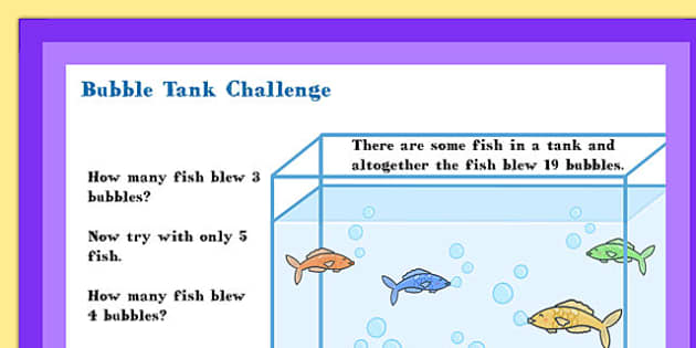 A4 KS1 Bubble Tank Maths Challenge-Poster - posters, display