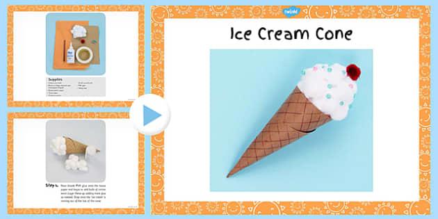 Ice Cream Cone Craft Instructions PowerPoint - craft, ice cream