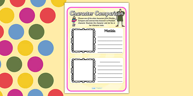 Character Comparison Worksheets to Support Teaching on Matilda - matilda, matilda character comparison, character comparisno worksheets, charater comparison