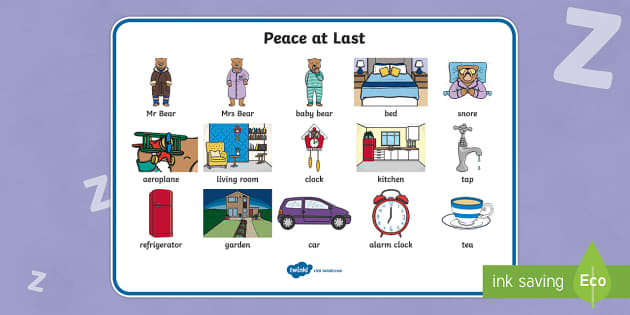 Peace at Last Word Mat (Images) - Peace at Last, resources,  Jill Murphy, Large family, Mr Bear, Mrs Bear, Baby Bear, sleep, story, story book, story book resources, story sequencing, story resources, word mat, writing aid