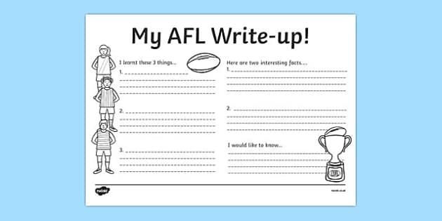 AFL Australian Football League Write Up Worksheet - writing, AFL