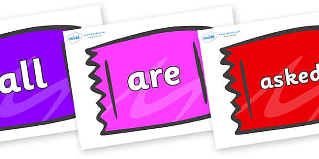 Tricky Words on Wrappers - Tricky words, DfES Letters and Sounds, Letters and sounds, display, words