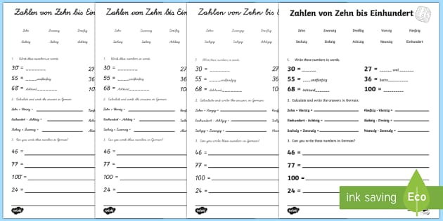 Numbers to One Hundred Activity Sheet German- Numbers,Counting, German,worksheet