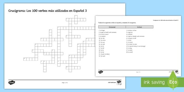 100 High  Frequency Verbs 3 Crossword - Spanish Grammar, GCSE, Spanish verbs, 100, high frequency, crossword, translation