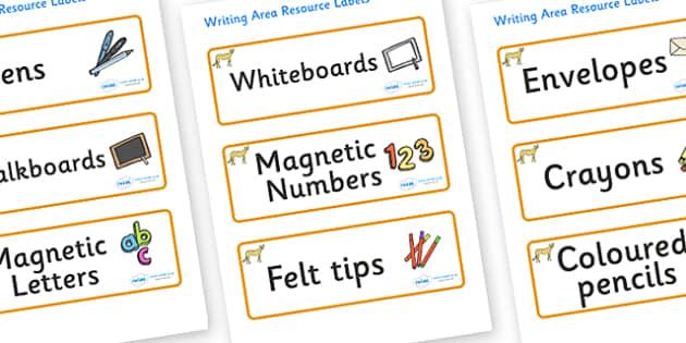 Cheetah Themed Editable Writing Area Resource Labels - Themed writing resource labels, literacy area labels, writing area resources, Label template, Resource Label, Name Labels, Editable Labels, Drawer Labels, KS1 Labels, Foundation Labels, Foundatio