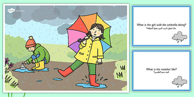 Spring Showers Scene and Question Cards Arabic Translation - arabic, spring, spring showers, questions, comprehension pack