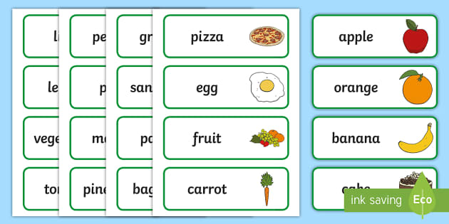 Food Topic Word Cards - food, word cards, cards, snack, eating, healthy, lunch, bread, banana, fruit, vegetable, tomato, potato, grains, protein