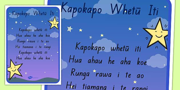 Kapokapo Whetū Iti Song Print Out Te Reo Māori - nz, new zealand, twinkle twinkle little star, nursery rhyme, te reo māori, print out