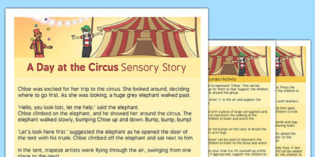 A Day at the Circus Sensory Story - interactive, sensory processing, sensory integration, autism, PMLD, MLD