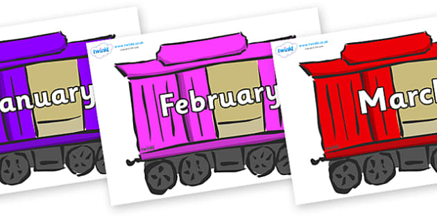 Months of the Year on Carriages - Months of the Year, Months poster, Months display, display, poster, frieze, Months, month, January, February, March, April, May, June, July, August, September