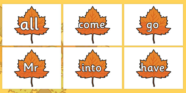 Tricky Words on Individual Autumn Leaves - tricky words, autumn leaves