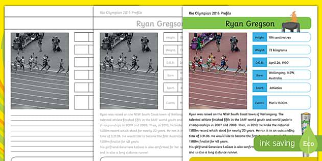 Australian Rio Olympian Ryan Gregson Handwriting Practice Activity Sheet-Australia, worksheet