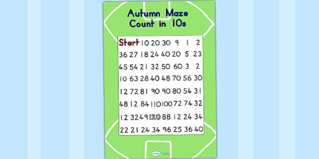 AFL Australian Football League Counting in 10s Maze  - maze