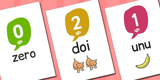 Numerele 0-20 - Planșe cu imagini și numere
