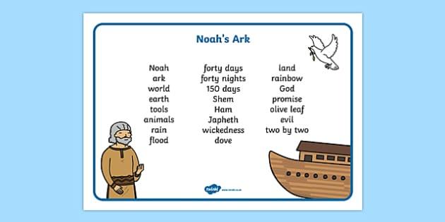 Noah's Ark Word Mat - Noah's Ark, word mat, mat writing aid, noah, tools, ark, animals, rain, rainbow, flood, dove, land